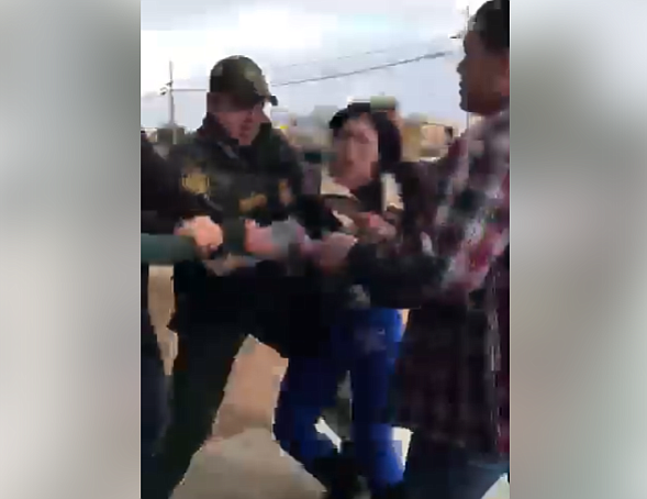 A screen grab of a Facebook video shows Perla Morales-Luna allegedly being ar...