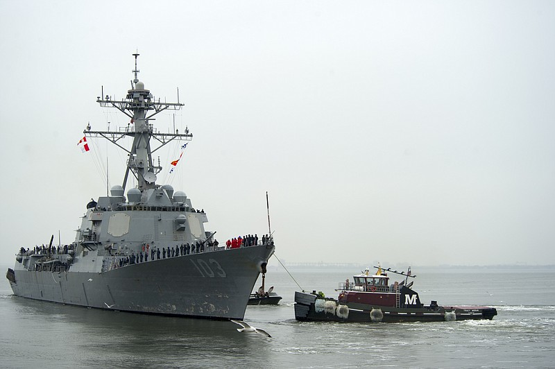 The guided-missile destroyer USS Truxtun scheduled to be upgraded to hybrid d...