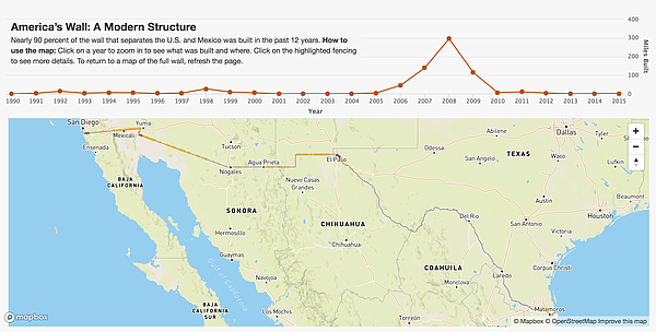 The map shows today's wall is relatively new — nearly 90 ...