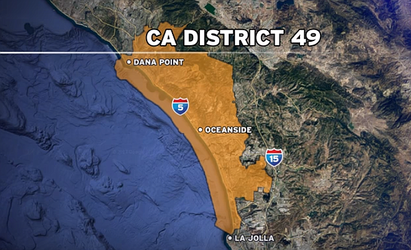 A map shows the boundaries of the 49th Congressional Dist...