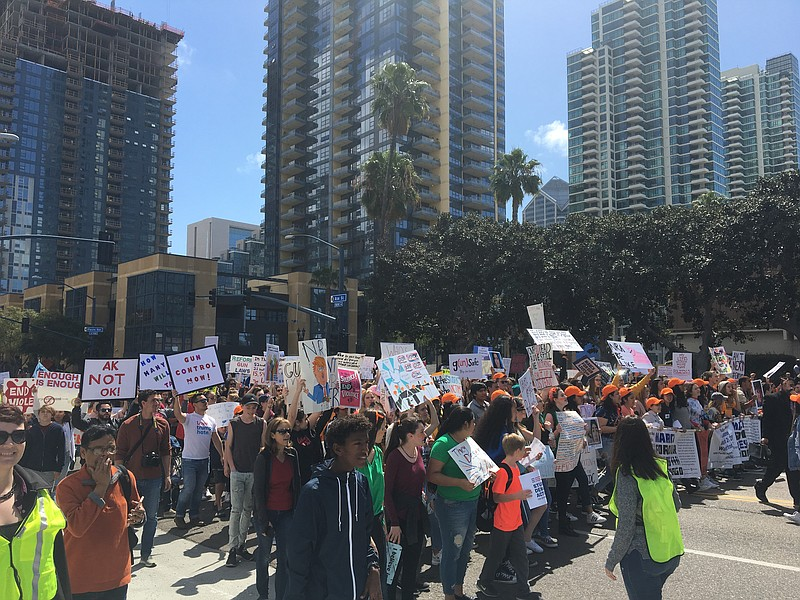 Students and supporters march for stricter gun laws during the March For Our ...