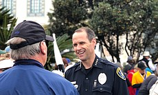 San Diego Police Chief David Nisleit speaks wit...