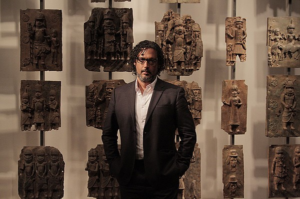 Presenter David Olusoga with various Benin Bronzes, Unkno...