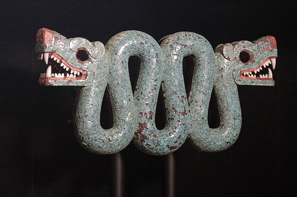 Turquiose mosaic of double headed serpent, Aztec. Commiss...