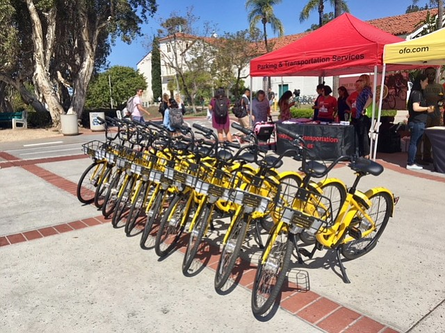 A row of dockless bicycles are parked at San Diego State University, April 10...