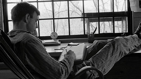 Wendell Berry writing in Henry County, Kentucky. 1970s.