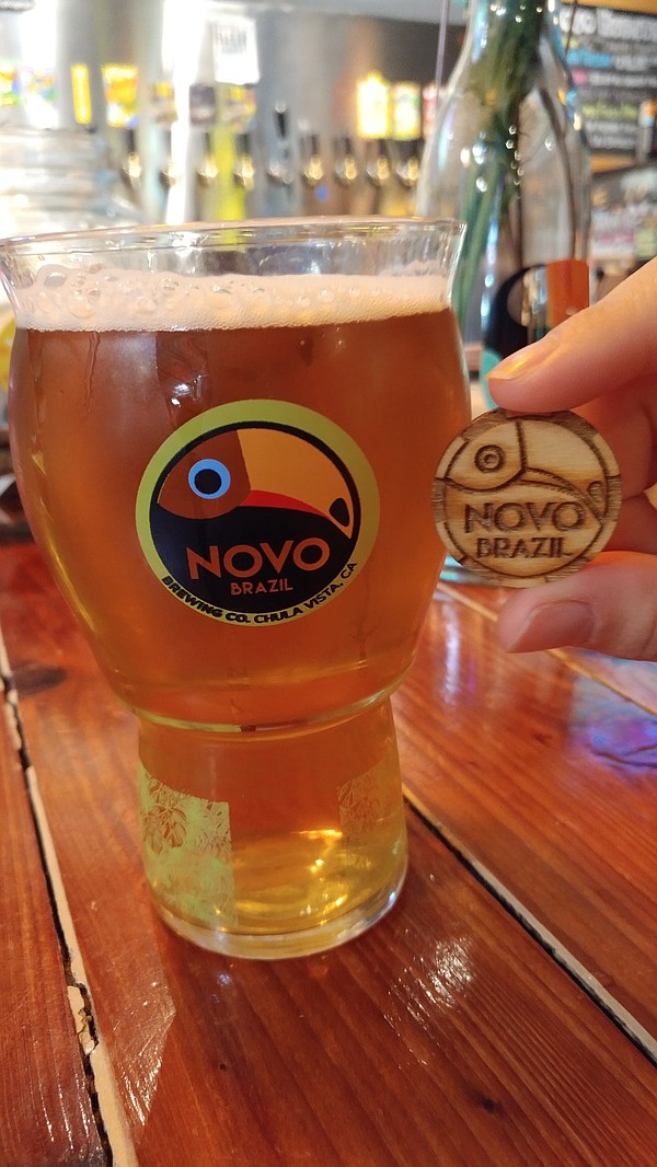 A glass of Novo Brazil beer is shown, April 7, 2018.