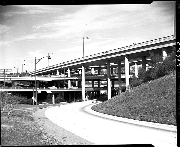 Four-level interchange of the 110 and 101 freeways lookin...
