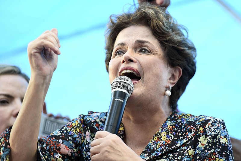 Former Brazilian President Dilma Rousseff speaks during a protest in support ...