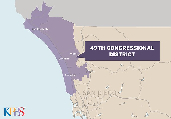 A map of the 49th Congressional District is shown in this...