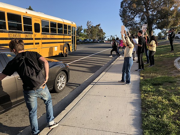 Students protest gun violence outside of El Camino High S...