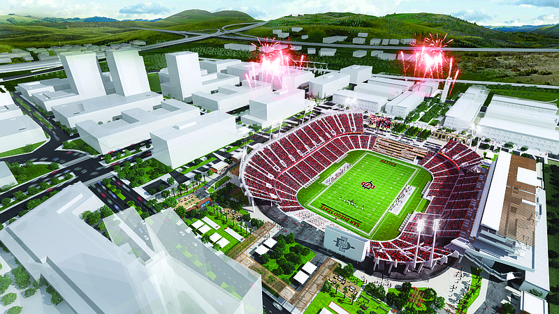 A rendering of the SDSU West project, April 27, 2018.