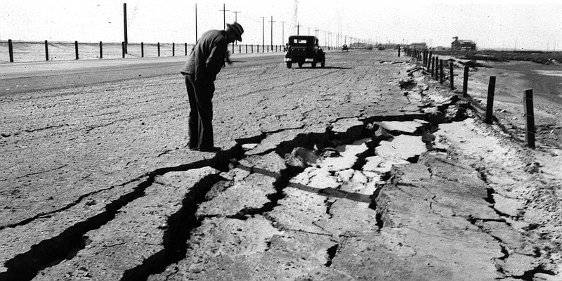 The Long Beach earthquake on March 10, 1933, left gaping cracks in a road bet...