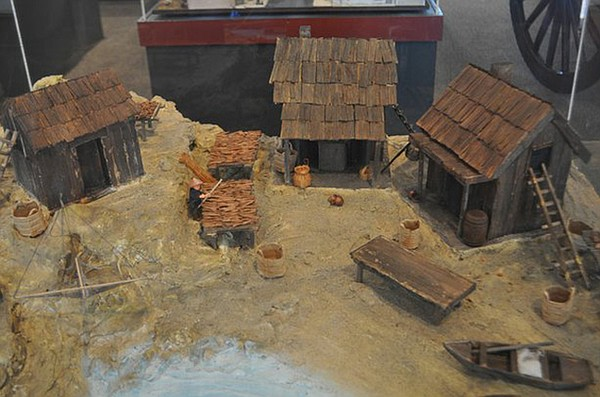Model of Chinese fishing huts on San Diego Bay.