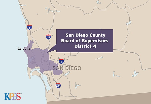 A map of the San Diego County Board of Supervisors Distri...