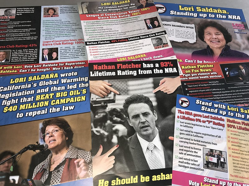 Campaign mailers sent by a super PAC supporting Lori Saldaña for San Diego Co...