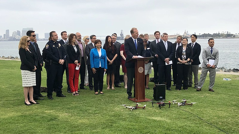 San Diego Mayor Kevin Faulconer is joined by Chula Vista Mayor Mary Salas and...