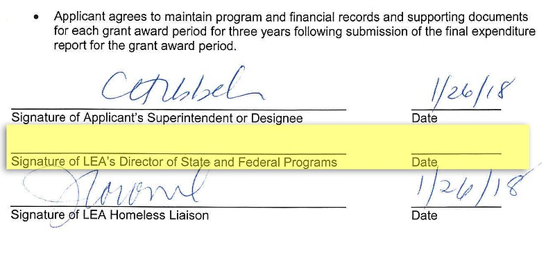This San Diego Unified School District federal funding application for homele...