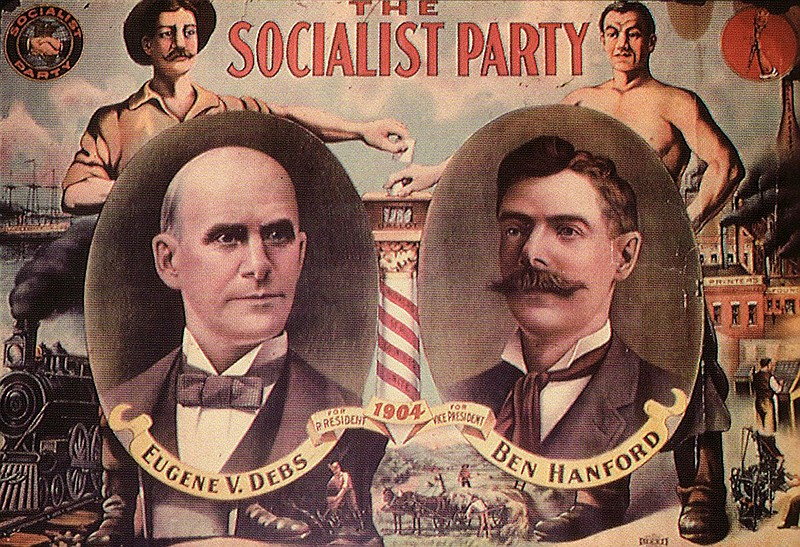 A presidential election campaign poster for Eugene V. Debs is shown in this u...