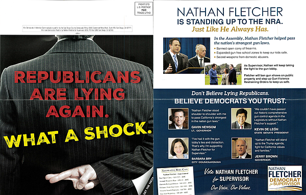 A mailer funded by the San Diego County Democratic Party ...