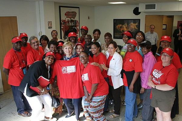 Hillary Clinton meets with ACORN staffers in 2006.