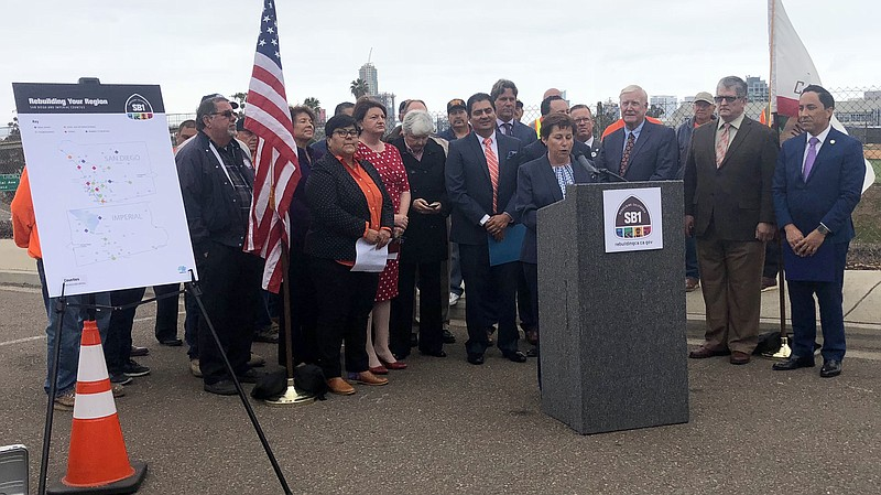 Caltrans Director Laurie Berman is joined by local and state politicians in B...