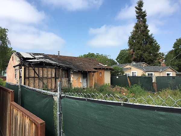 A burned-out house in the Willow Glen neighborhood of San...
