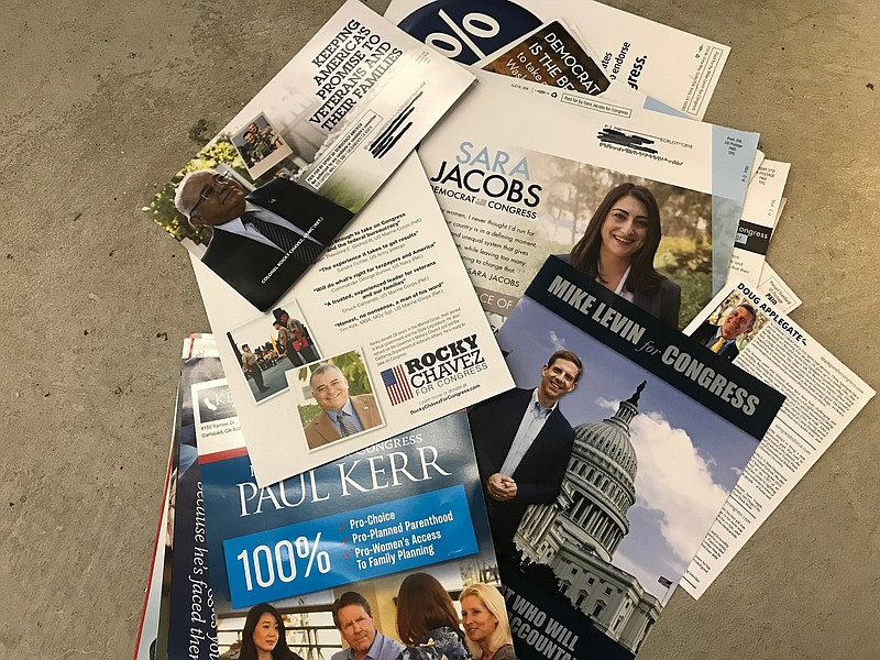 Mailers from campaigns for the 49th congressional seat, May 2018