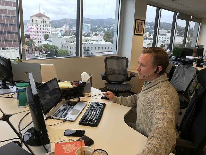Recruiter Matt Stone calls job-seekers from his desk at the Hollywood office ...