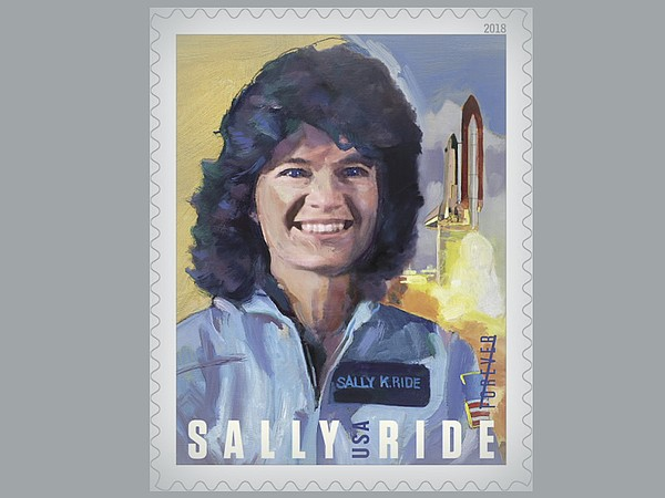 A U.S. Postal Service stamp honoring Sally Ride, the firs...