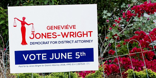 A sign for San Diego County district attorney candidate G...