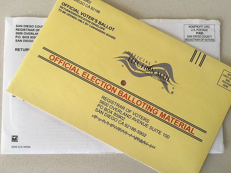 A 2018 mail-in ballot is seen in this photo, May 29, 2018.
