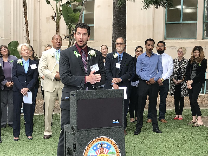 Stan Collins, a San Diego County suicide prevention specialist, stands