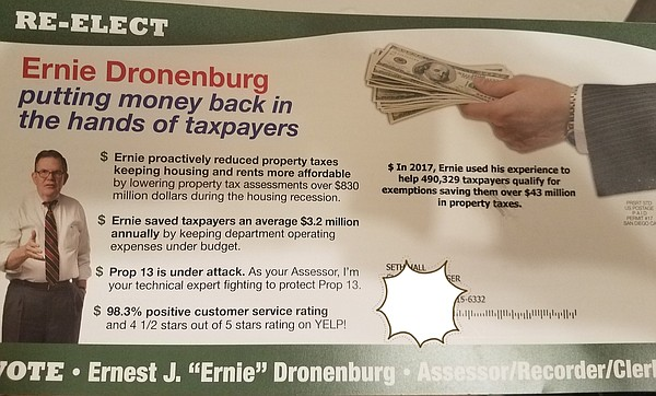 A campaign mailer from San Diego County Assessor/Recorder...