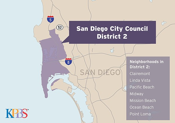 A map shows San Diego City Council District 2, May 2018.