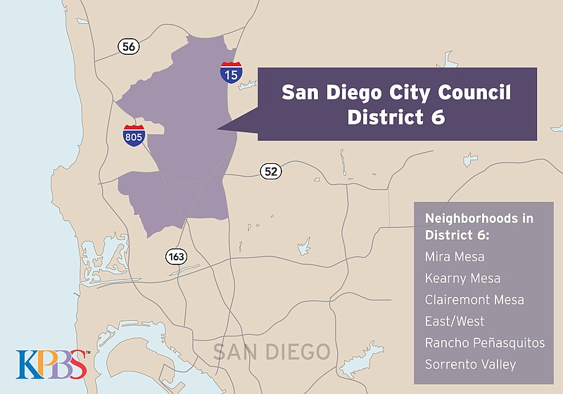 A map shows San Diego City Council District 6, May 2018.