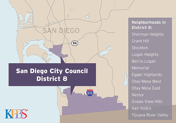 A map shows San Diego City Council District 8, May 2018.