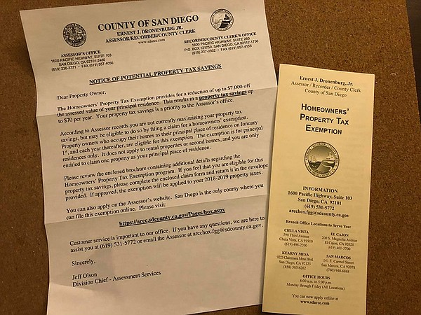 A letter sent out by the San Diego County Assessor/Record...