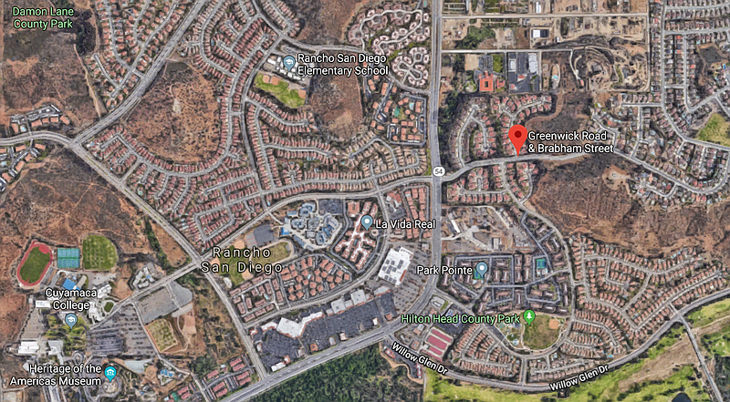 A map shows the location where a brush fire scorched 10 acres in Rancho, San ...