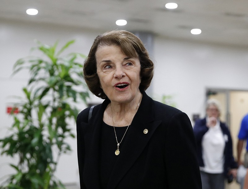 Sen. Dianne Feinstein, D-Calif., departs after a vote on Gina Haspel to be CI...