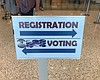 A sign at the San Diego County Registrar of Vot...