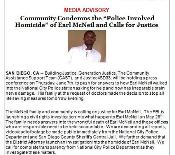 A press release issued about the death of Earl McNeil is ...