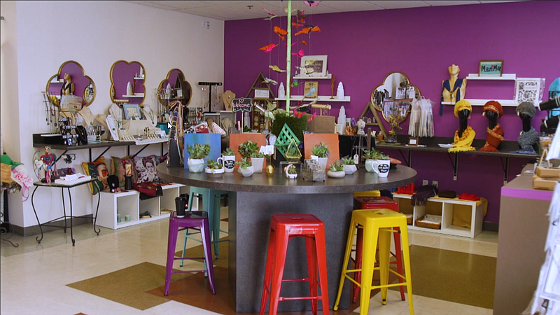 An inside view of the Women's Empowerment Boutique.