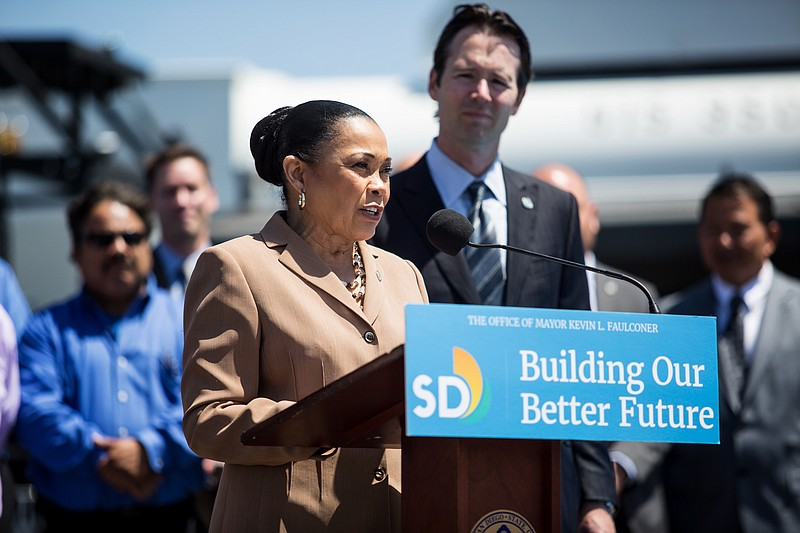 San Diego Councilwoman Myrtle Cole is shown speaking at a news conference in ...