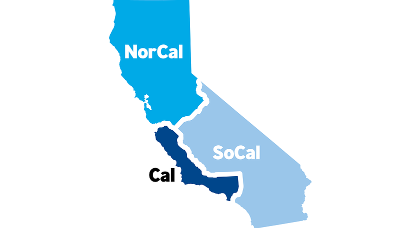 Cal 3's projected map of the three states is shown, 2018.