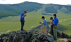 A group of geologists in Mongolia.