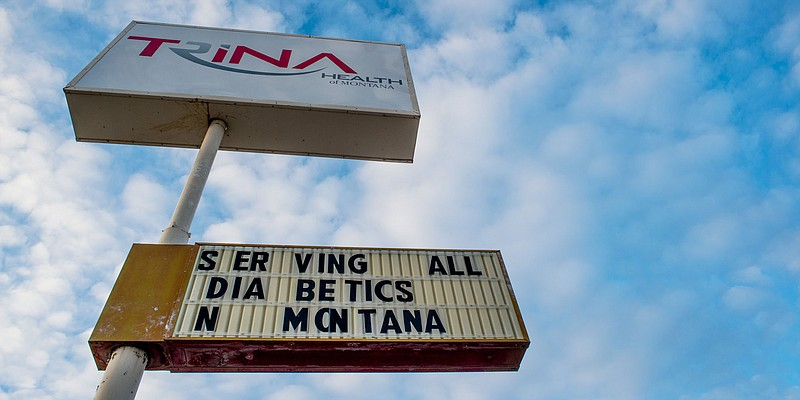 The Trina Health sign in Dillon, Montana, is shown here on Nov. 30, 2017.