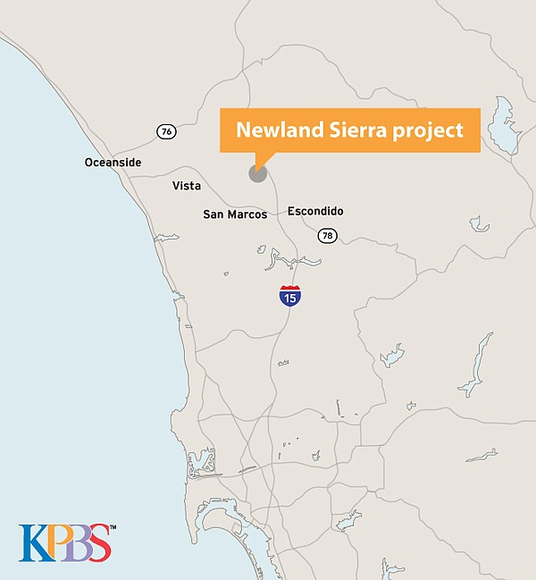 The location of the Newland Sierra project is shown on th...