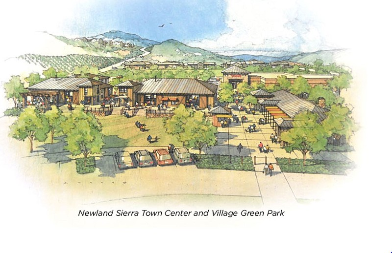 An artists rendering of the proposed Newland Sierra Town Center in North Coun...