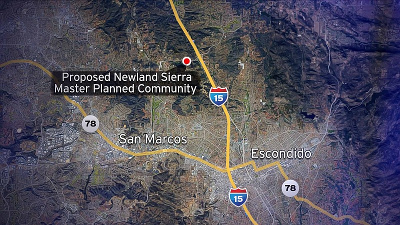 This map shows the North County location of the proposed Newland Sierra maste...